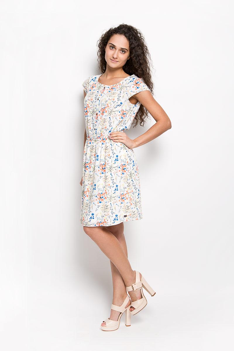 Платье Tom Tailor Denim, цвет: молочный, мультиколор. 5019176.00.71_8005. Размер XS (42)5019176.00.71_8005Оригинальное платье Tom Tailor Denim станет ярким и стильным дополнением к вашему гардеробу. Изделие выполнено из 100% вискозы, приятное к телу, не сковывает движения и хорошо вентилируется.Модель с круглым вырезом горловины и короткими рукавами. Платье спереди дополнено декоративной планкой с пуговицами, а сзади - ажурной вставкой. По линии талии изделие собрано на резинку. Юбка дополнена подкладкой из полиэстера. Изделие оформлено оригинальным принтом и небольшой металлической нашивкой с названием бренда. Это эффектное платье поможет создать привлекательный женственный образ.