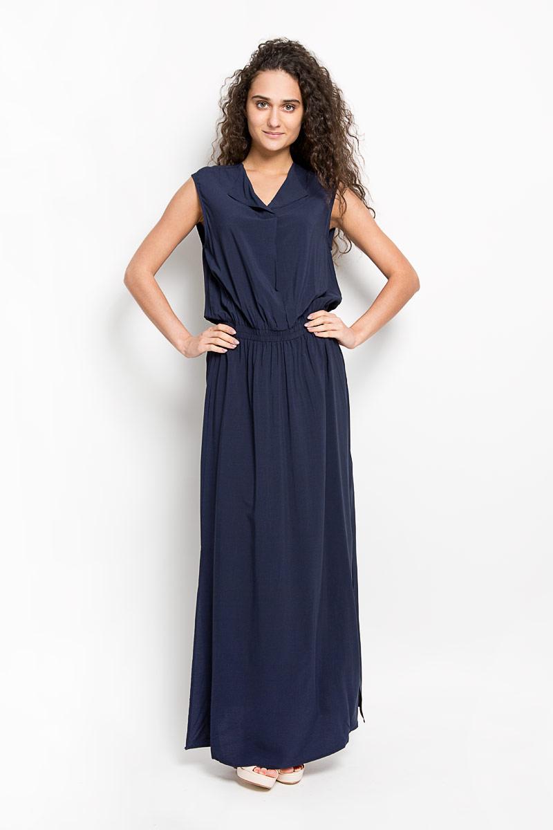 Платье Broadway Gavena, цвет: темно-синий. 10156350 541. Размер M (46)10156350 541Оригинальное платье Broadway Gavena станет ярким и стильным дополнением к вашему гардеробу. Изделие выполнено из 100% вискозы, приятное к телу, не сковывает движения и хорошо вентилируется.Модель с круглым вырезом горловины и без рукавов. Платье спереди дополнено небольшим разрезом по линии горловины. На талии модель собрана на широкую резинку. По бокам - разрезы. Это эффектное платье поможет создать привлекательный женственный образ.