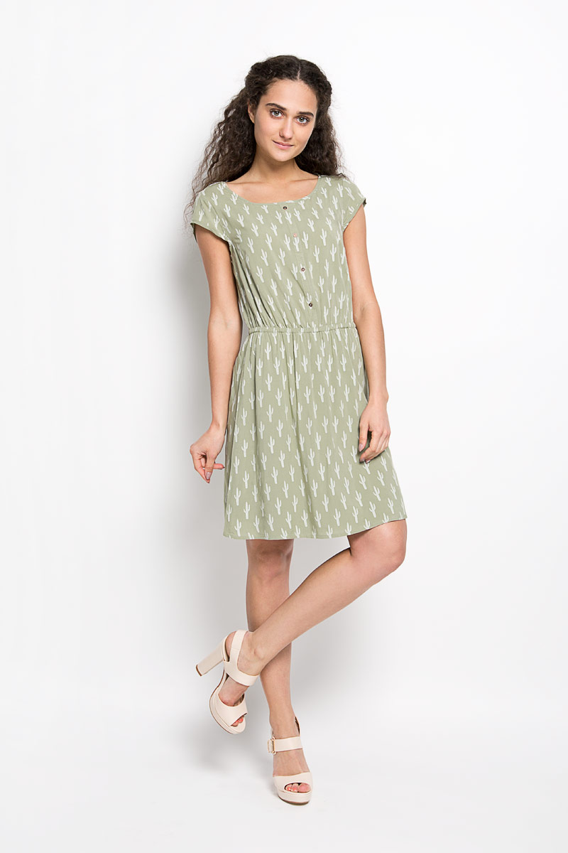Платье Tom Tailor Denim, цвет: серо-зеленый, белый. 5019176.01.71_7701. Размер M (46)5019176.01.71_7701Оригинальное платье Tom Tailor Denim станет ярким и стильным дополнением к вашему гардеробу. Изделие выполнено из 100% вискозы, приятное к телу, не сковывает движения и хорошо вентилируется.Модель с круглым вырезом горловины и короткими рукавами. Платье спереди дополнено декоративной планкой с пуговицами, а сзади - ажурной вставкой. По линии талии изделие собрано на резинку. Юбка дополнена подкладкой из полиэстера. Изделие оформлено оригинальным принтом и небольшой металлической нашивкой с названием бренда. Это эффектное платье поможет создать привлекательный женственный образ.