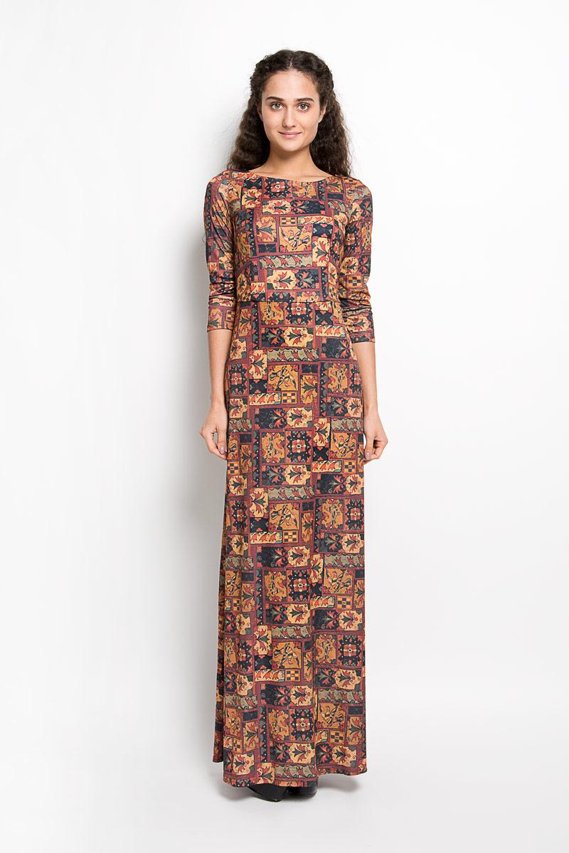 Платье Анна Чапман, цвет: коричневый, светло-коричневый, темно-зеленый. P20E-27. Размер 42P20E-27Великолепное платье Анна Чапман, выполненное из нежнейшей ткани, идеально сидит благодаря правильным выточкам. Платье-макси приталенного кроя с круглым вырезом горловины и рукавами 3/4 подойдет как для вечернего выхода, так и на каждый день. Платье украшено оригинальным принтом. Спинка оформлена V-образным вырезом. Такое платье станет стильным дополнением к вашему гардеробу, оно подарит вам комфорт в течение всего дня!