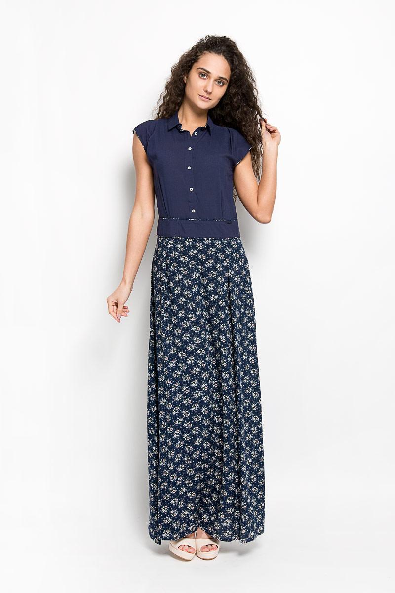 Платье Finn Flare, цвет: темно-синий. S16-11017. Размер M (46)S16-11017Оригинальное платье Finn Flare станет ярким и стильным дополнением к вашему гардеробу. Изделие выполнено из 100% вискозы, приятное к телу, не сковывает движения и хорошо вентилируется.Модель макси длины с отложным воротником и без рукавов. Платье застегивается на пуговицы спереди и на застежку-молнию в левом боковом шве. Изделие оформлено небольшой металлической нашивкой с названием бренда и оригинальным принтом в мелкий цветочек. Это эффектное платье поможет создать привлекательный женственный образ.