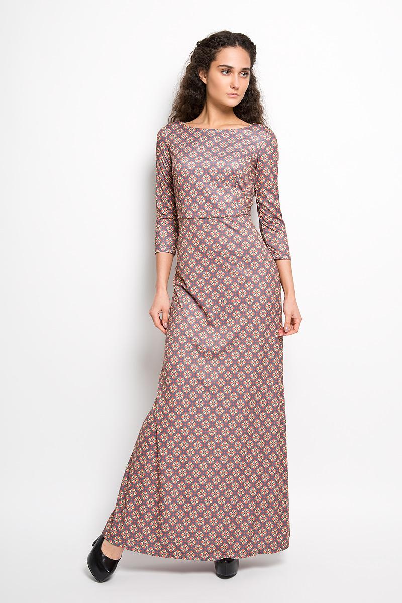 Платье Анна Чапман, цвет: графитовый, желтый, темно-оранжевый. P20E-28. Размер 42P20E-28Великолепное платье Анна Чапман, выполненное из нежнейшей ткани, идеально сидит благодаря правильным выточкам. Платье-макси приталенного кроя с круглым вырезом горловины и рукавами 3/4 подойдет как для вечернего выхода, так и на каждый день. Платье украшено изящным принтом Двина. Спинка оформлена V-образным вырезом. Такое платье станет стильным дополнением к вашему гардеробу, оно подарит вам комфорт в течение всего дня!