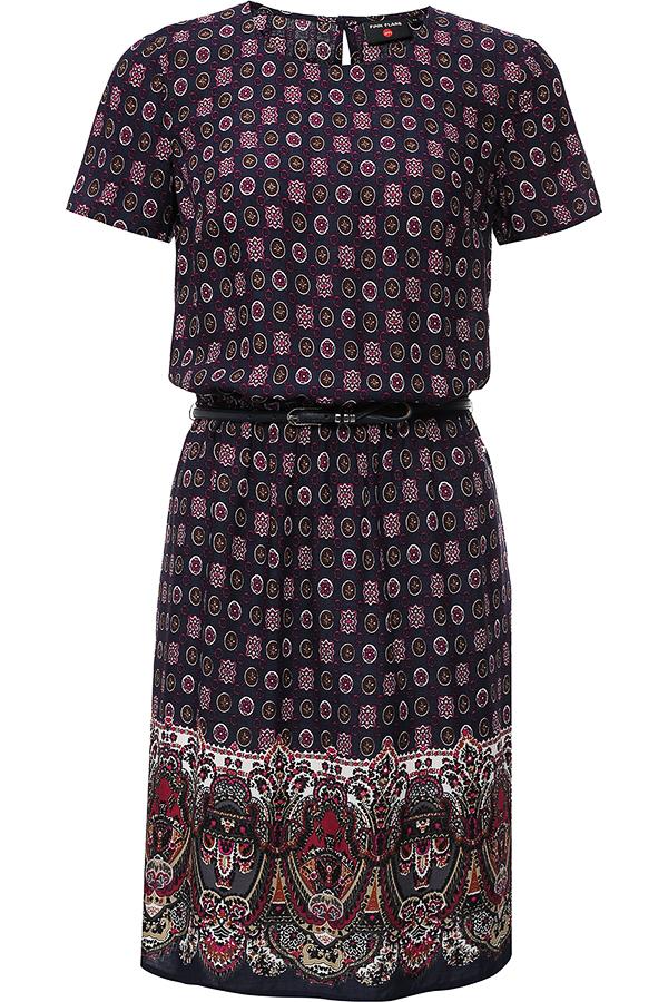 Платье Finn Flare, цвет: темно-синий, фуксия, коричневый. S16-32020. Размер M (46)S16-32020Модное платье Finn Flare поможет создать отличный современный образ. Модель, изготовленная из вискозы, застегивается на пуговицу, расположенную на спинке. Платье-миди с круглым вырезом горловины и короткими рукавами присборено резинкой на талии. Модель оформлена оригинальным принтом. Нижняя часть модели по боковым швам дополнена небольшими разрезами. В комплект входит стильный ремень.