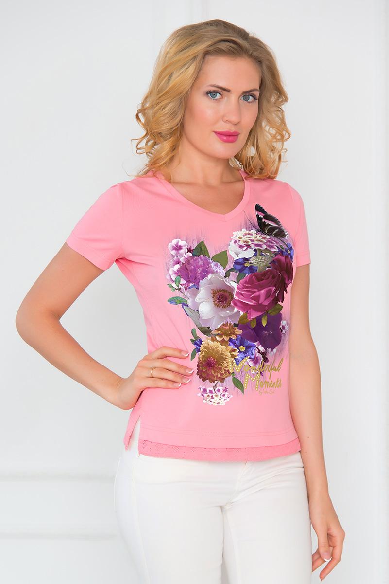 Футболка женская BeGood, цвет: розовый. SS16-BGUZ-546. Размер 50SS16-BGUZ-546Стильная женская футболка BeGood изготовлена из эластичного хлопка.Классическая модель с короткими рукавами и V-образным вырезом горловины оформлена оригинальным цветочным принтом и стразами. Низ изделия украшен ажурной оборкой. По бокам футболка дополнена небольшими разрезами.