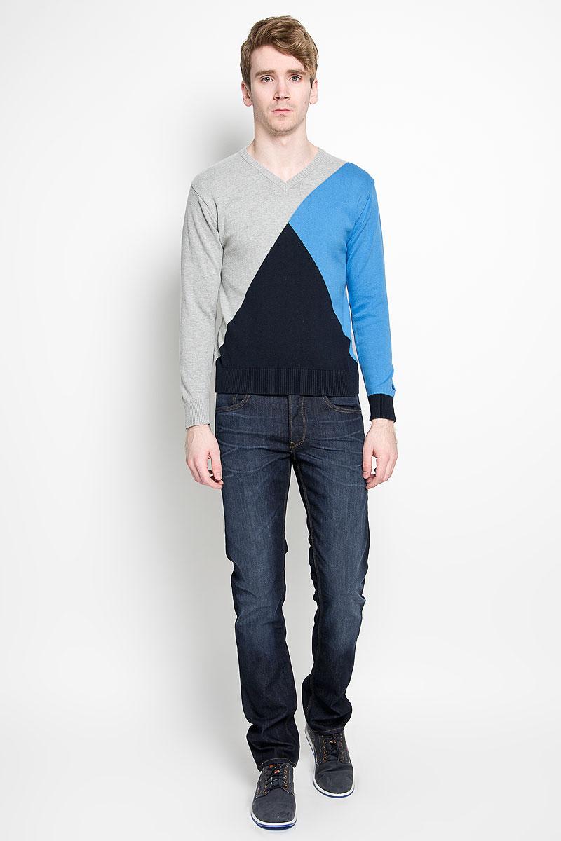 Пуловер мужской Karff, цвет: серый, голубой. 88002-01. Размер L (52)88002-01Вязаный мужской пуловер Karff, выполненный из натурального хлопка, станет стильным дополнением к вашему гардеробу. Изделие очень мягкое и приятное на ощупь, не сковывает движения, позволяет коже дышать. Модель с длинными рукавами и V-образным вырезом горловины оформлена цветной вязкой. Низ рукавов и низ изделия дополнены эластичными резинками. Современный дизайн и расцветка делают этот пуловер модным предметом мужской одежды. В нем вы всегда будете чувствовать себя комфортно.