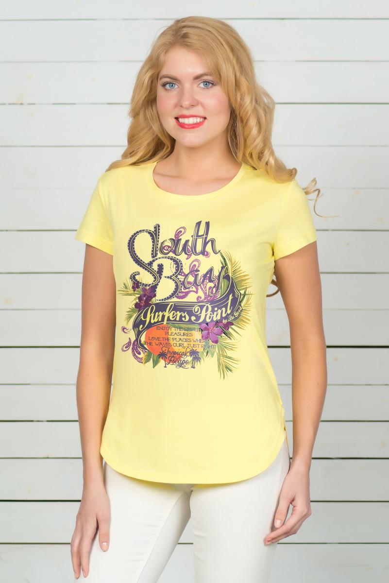 Футболка женская BeGood, цвет: желтый. SS16-BGUZ-52. Размер 50SS16-BGUZ-523Стильная женская футболка BeGood, выполненная из эластичного хлопка, обладает высокой теплопроводностью, воздухопроницаемостью и гигроскопичностью, позволяет коже дышать. Модель с короткими рукавами и V-образным вырезом горловины - идеальный вариант для создания стильного современного образа. Футболка оформлена ярким принтом с цветами и надписями. По низу модель имеет закругленную форму.