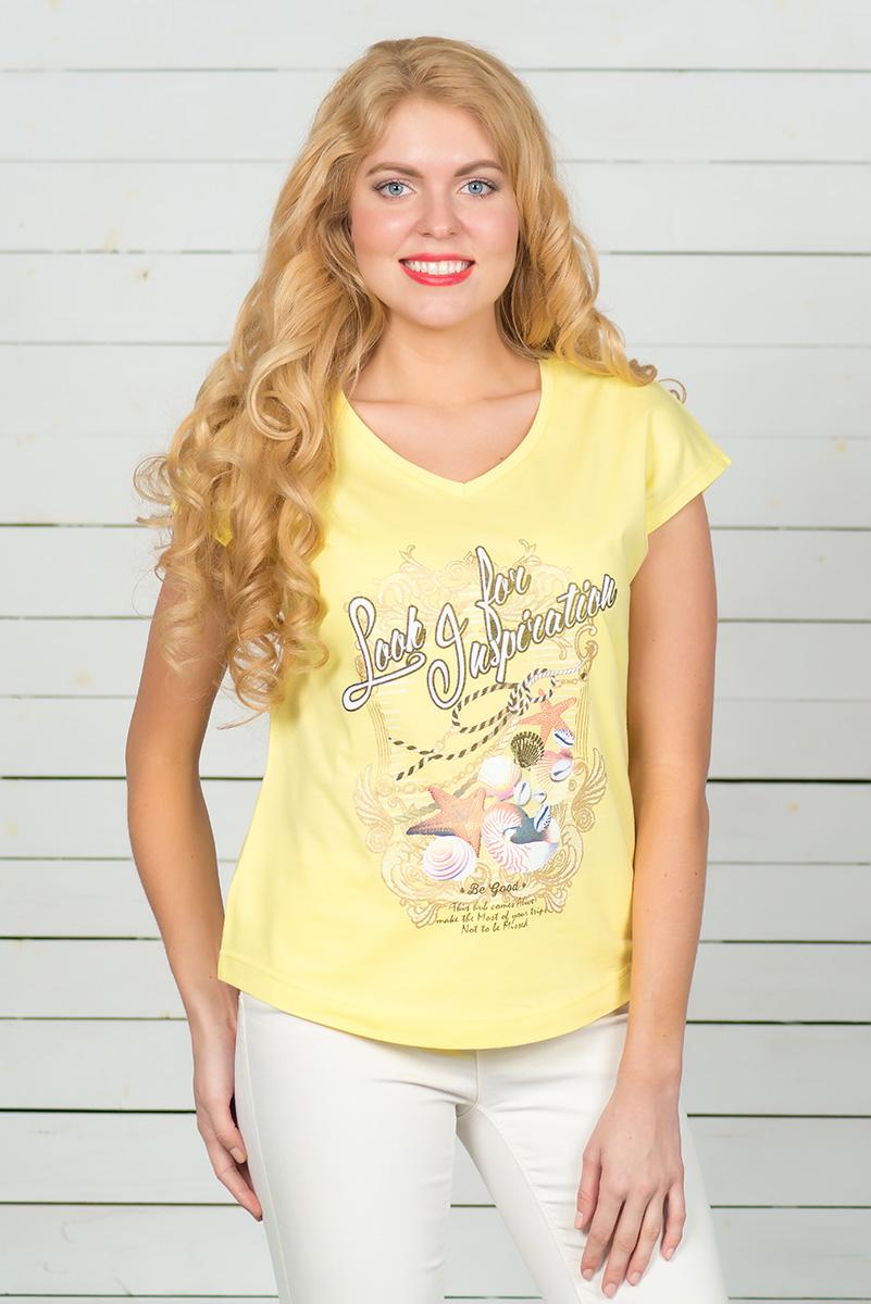 Футболка женская BeGood, цвет: желтый. SS16-BGUZ-513. Размер 46SS16-BGUZ-513Стильная женская футболка BeGood, выполненная из эластичного хлопка, обладает высокой теплопроводностью, воздухопроницаемостью и гигроскопичностью, позволяет коже дышать. Модель с короткими цельнокроеными рукавами и V-образным вырезом горловины - идеальный вариант для создания стильного современного образа. Футболка оформлена ярким принтом. По низу модель имеет закругленную форму.