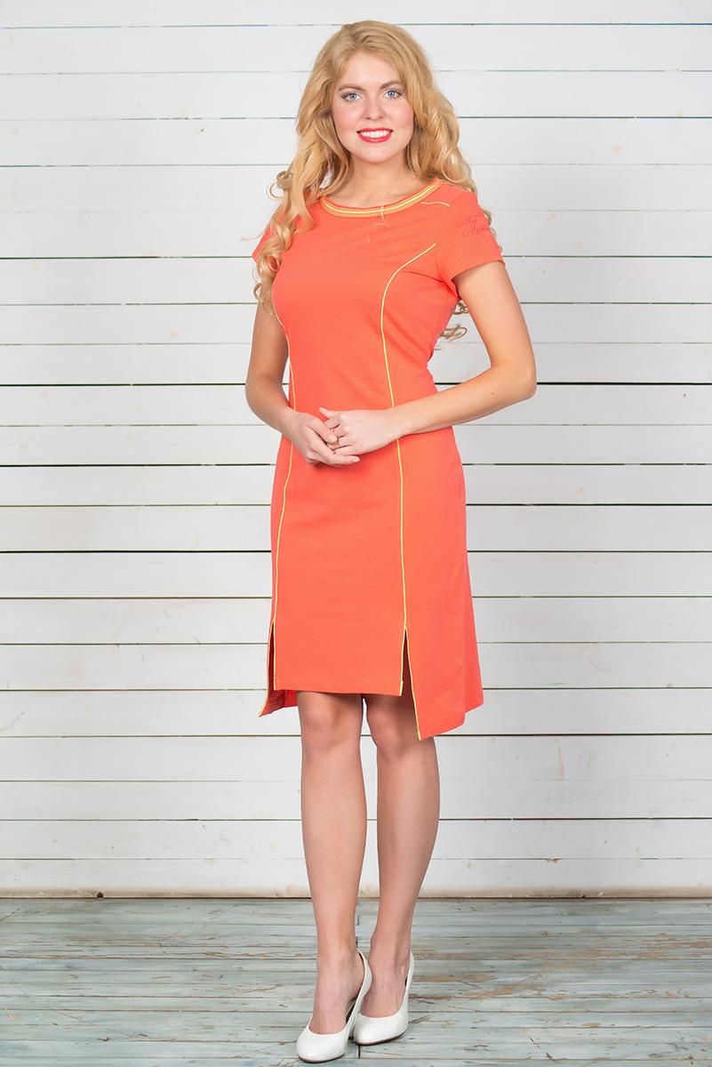 Платье BeGood, цвет: оранжевый. SS16-BGUZ-519. Размер 46SS16-BGUZ-519Платье BeGood выполнено из эластичного хлопка. Модель-миди приталенного силуэта с короткими рукавами и круглым вырезом горловины спереди в нижней части дополнена двумя разрезами. Платье имеет удлиненную заднюю часть. Вырез горловины снабжен эластичной резинкой. Рукав изделия украшен вышивкой.