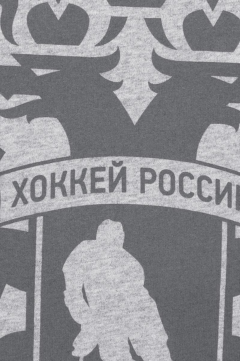 Футболка детская Красная Машина Хоккей России.  Герб, цвет:  серый меланж, темно-серый меланж.  65160071.  Размер 140
