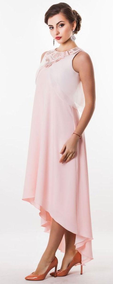 Платье Seam, цвет: бледно-розовый. 4630_401. Размер M (46)4630_401Стильное платье Seam, выполненное из струящегося легкого материала, подчеркнет ваш уникальный стиль и поможет создать оригинальный женственный образ. Платье-макси свободного кроя с круглым вырезом горловины придется вам по душе. Верхняя часть спинки дополнена V-образным вырезом. Нижняя часть модели спереди укорочена. Платье оснащено съемной полупрозрачной накидкой, которая дополнена декоративной нашивкой, оформленной вышивкой и пайетками. Застегивается накидка на пуговицу.Такое платье станет стильным дополнением к вашему гардеробу.