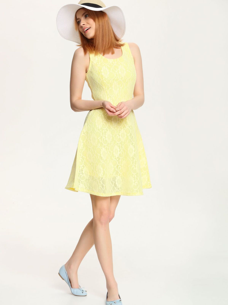 Платье Troll, цвет: светло-желтый. TSU0526ZO. Размер L (48)TSU0526ZOПлатье Troll выполнено из высококачественного сетчатого материала и оформлено гипюром. Изделие дополнено подкладкой из полиэстера. Модель с круглым вырезом горловины застегивается на застежку-молнию расположенную в среднем шве спинки.