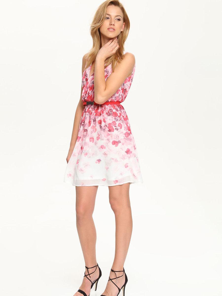 Платье Top Secret, цвет: белый, розовый. SSU1588BI[E]. Размер 34 (40)SSU1588BI[E]Элегантное платье Top Secret, изготовленное из высококачественного полиэстера, оно мягкое на ощупь, не раздражает кожу и хорошо вентилируется.Модель с V-образным вырезом горловины без рукавов на спинке застегивается на потайную застежку-молнию. Верх платья выполнен с запахом и оформлен в гофрированном стиле. Складки на юбке дарят образу романтичность. В поясе модель дополнена небольшим ремешком. Стильное платье оформлено пестрым цветочным принтом.