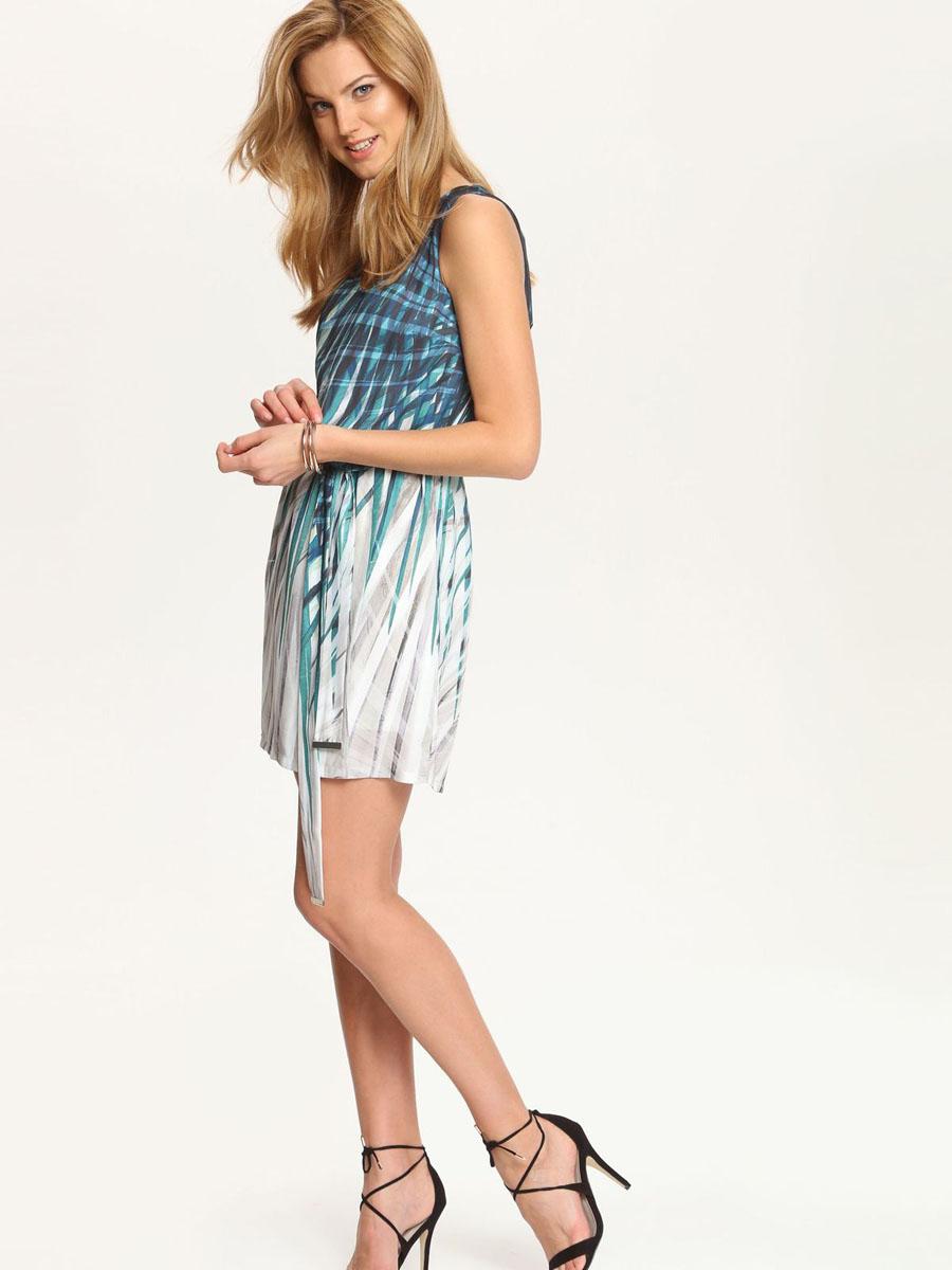 Платье Top Secret, цвет: темно-зеленый, белый. SSU1561ZI[E]. Размер 42 (48)SSU1561ZI[E]Платье Top Secret выполнено из полиэстера и дополнено тонкой подкладкой. Платье-мини с V-образным вырезом горловины застегивается на потайную застежку-молнию расположенную в среднем шве спинки. По талии модель присобрана на резинку и дополнена текстильным поясом. Платье оформлено оригинальным принтом.