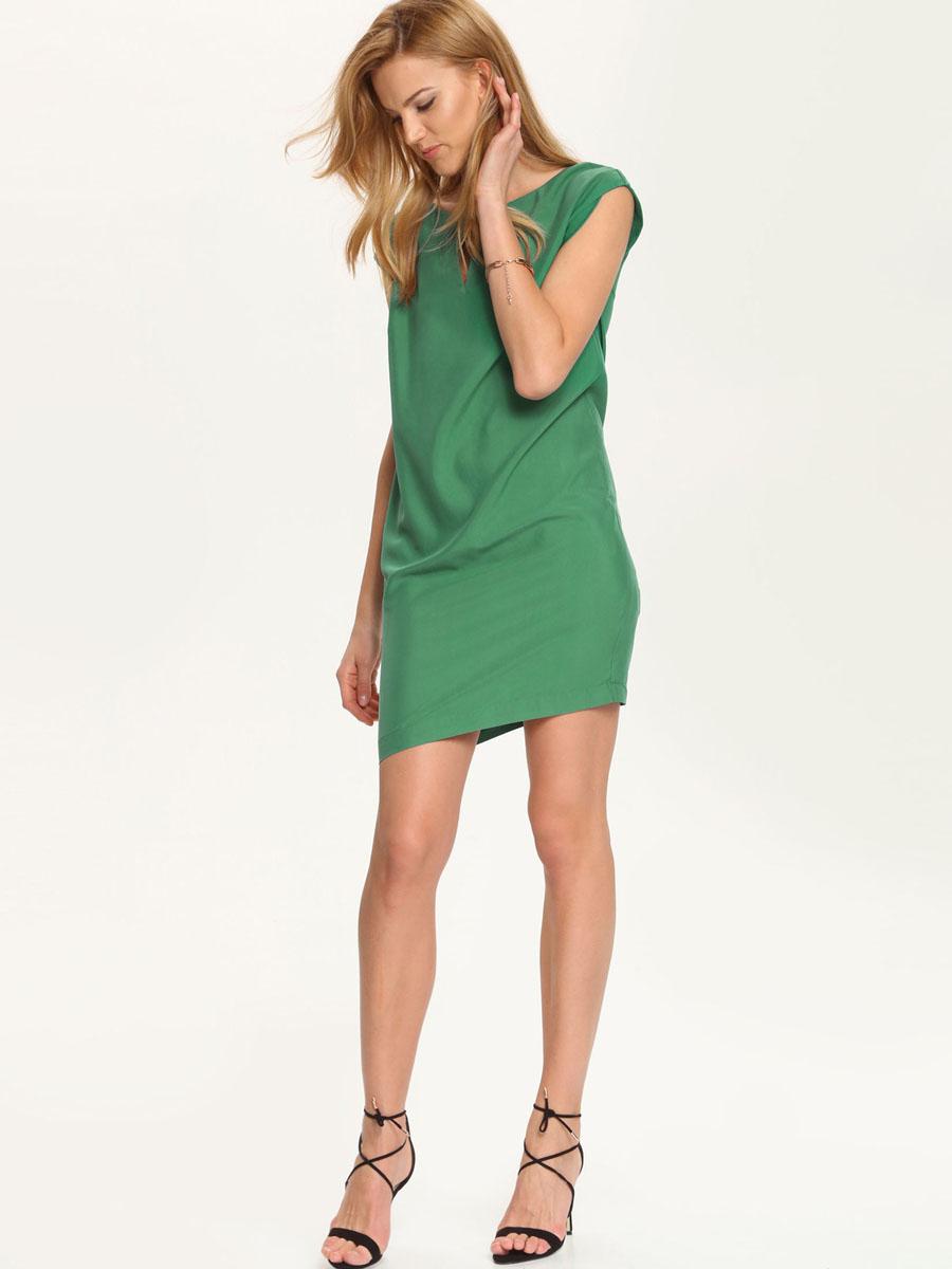 Платье Top Secret, цвет: темно-зеленый. SSU1542ZI[E]. Размер 36 (42)SSU1542ZI[E]Платье Top Secret выполнено из высококачественного комбинированного материала. Платье-мини с круглым вырезом горловины застегивается на потайную застежку-молнию расположенную в среднем шве спинки. Спереди платье оформлено вырезом и декоративным металлическим элементом.