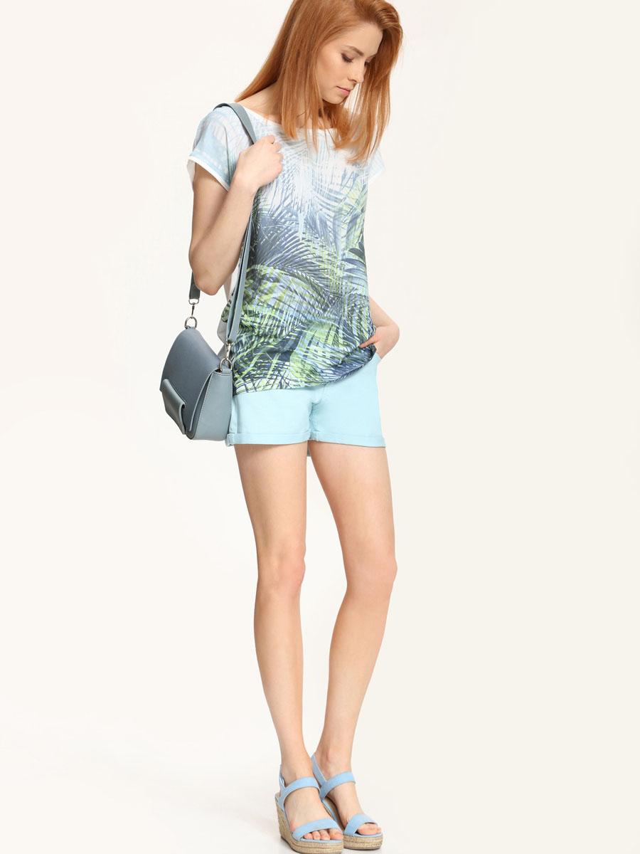 Футболка женская Top Secret, цвет: белый, зеленый. SPO2723BI[E]. Размер 40 (46)SPO2723BI[E]Модная женская футболка Troll, выполнена из 100% вискозы.Модель с короткими рукавами и круглым вырезом горловины оформлена цветочным принтом.