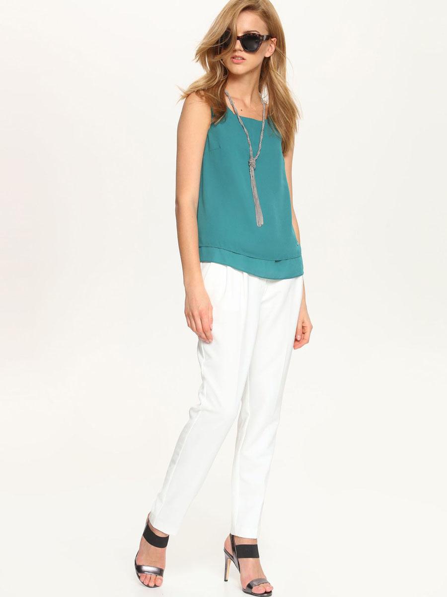 Блузка женская Top Secret, цвет: зеленый. SBW0237ZI[E]. Размер 36 (42)SBW0237ZI[E]Модная женская блузка Top Secret, изготовленная из полиэстера, приятная на ощупь, не сковывает движений и обеспечивает наибольший комфорт.Модель свободного кроя с вырезом горловины лодочка и без рукавов выполнена в лаконичном стиле.