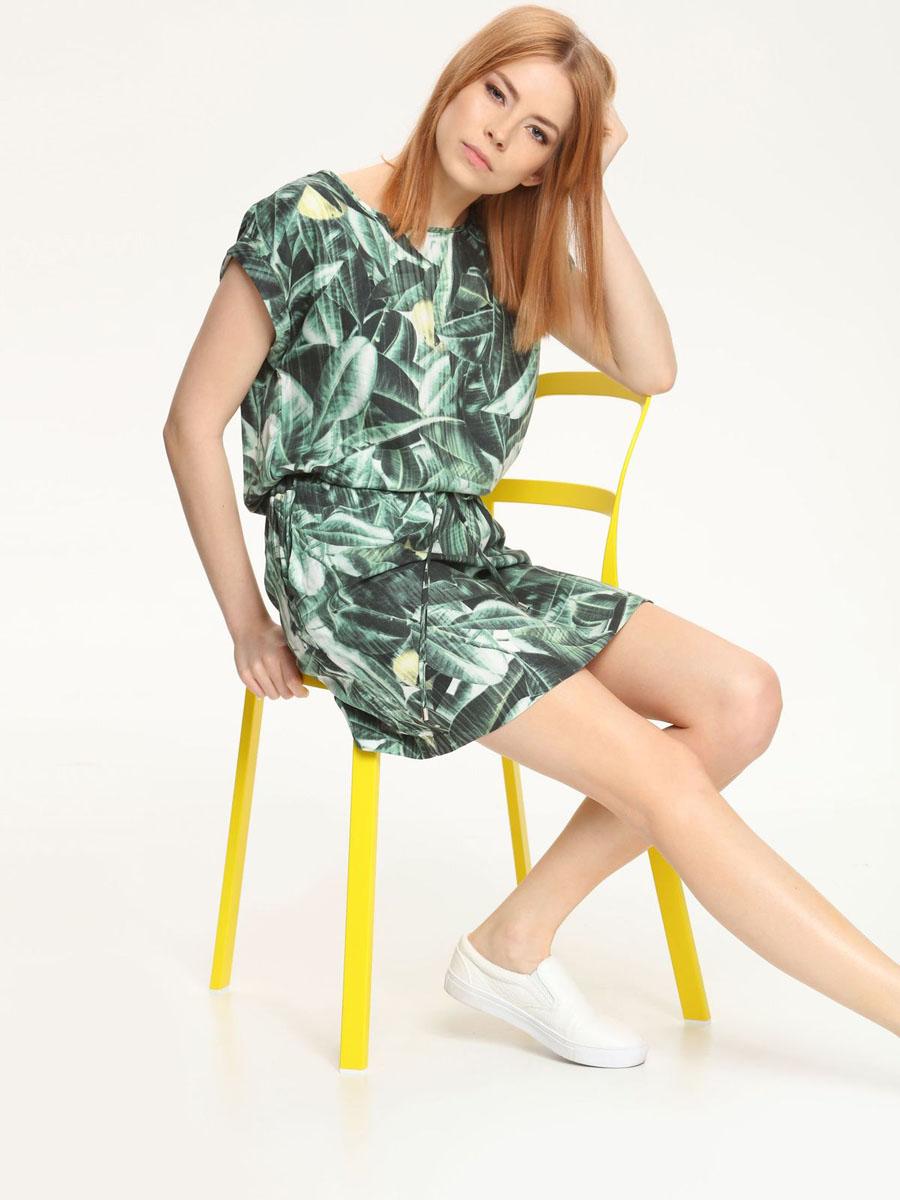 Платье Drywash, цвет: зеленый. DSU0042ZI[E]. Размер S (44)DSU0042ZI[E]Платье Drywash изготовлено из 100% вискозы. Платье с короткими рукавами и круглым вырезом горловины оформлено принтом в виде листьев. На талии изделие дополнено текстильным шнурком. По бокам расположены прорезные карманы.