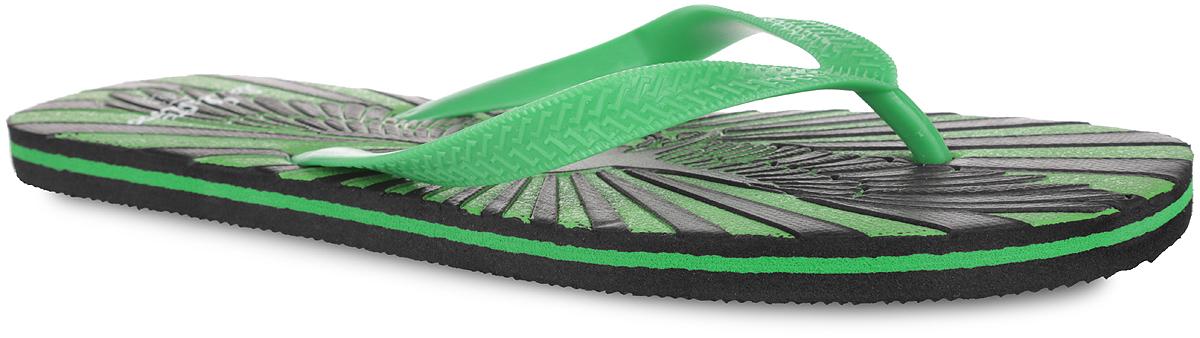 Сланцы мужские Lamaliboo, цвет: зеленый, черный. 82612_з. Размер 4282612_зСтильные и очень легкие сланцы от Lamaliboo придутся вам по душе. Верх модели выполнен из ПВХ и оформлен на ремешках оригинальным тиснением. Ремешки с перемычкой гарантируют надежную фиксацию изделия на ноге. Верхняя часть подошвы декорирована стильным тиснением в виде черепа с крыльями и названием бренда. Рифление на верхней поверхности подошвы предотвращает выскальзывание ноги. Рельефное основание подошвы из ЭВА обеспечивает уверенное сцепление с любой поверхностью. Удобные сланцы прекрасно подойдут для похода в бассейн или на пляж.