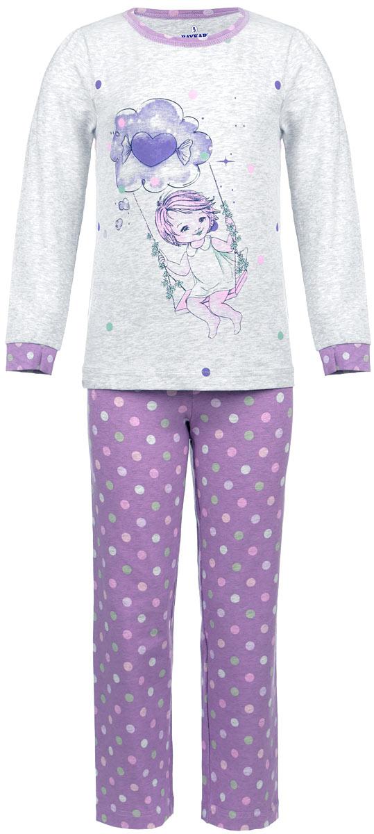 Пижама для девочки Baykar, цвет: серый меланж, сиреневый. N9035-82. Размер 98/104N9035-82Мягкая пижама для девочки Baykar, состоящая из футболки с длинным рукавом и брюк, идеально подойдет ребенку для отдыха и сна. Модель выполнена из эластичного хлопка, очень приятная к телу, не сковывает движения, хорошо пропускает воздух.Футболка с круглым вырезом горловины и длинными рукавами-фонариками украшена принтом с изображением девочки на качелях. Вырез горловины оформлен принтованной окантовкой. На рукавах предусмотрены мягкие манжеты. Плоские эластичные швы изделия обеспечивают комфорт и не вызывают раздражений.Брюки на талии имеют мягкую резинку, благодаря чему они не сдавливают животик ребенка и не сползают. Изделие оформлено принтом в горох.В такой пижаме маленькая принцесса будет чувствовать себя комфортно и уютно!
