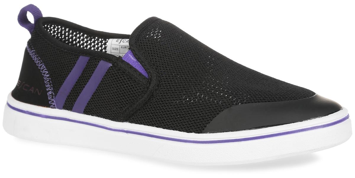 Слипоны женские Escan Sport, цвет: черный, фиолетовый. ES660515-1. Размер 37 (38)ES660515-1Модные женские слипоны Escan Sport покорят вас с первого взгляда! Модель изготовлена из прочного текстиля и оформлена по бокам контрастными полосками. Эластичные вставки на подъеме гарантируют идеальную посадку обуви на вашей ноге. Текстильная подкладка предотвратит натирание. Мягкая стелька из материала EVA с поверхностью из текстиля обеспечивает комфорт и удобство при ходьбе. Гибкая подошва, дополненная рифлением, гарантирует хорошее сцепление с любой поверхностью. Слипоны прекрасно сидят на ноге, их легконадеть и снять - словом, это идеальный выбор для тех, кому нужна современнаяобувь, отвечающая принципу надел и пошел!