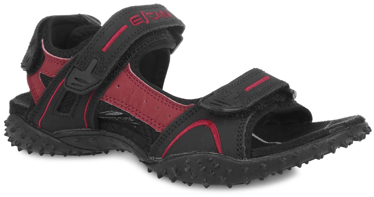 Сандалии Escan, цвет: черный, темно-розовый. ES660163-1. Размер 36 (37,5)ES660163-1Удобные сандалии Escan прекрасно подойдут для активного отдыха. Верх модели выполнен из искусственной кожи. Ремешки на застежках-липучках с дополнительной поддержкой пяточной части надежно зафиксируют обувь на ноге. Ремешок на подъеме оформлен вышивкой в виде названия бренда. Внутренняя поверхность обуви выполнена из текстиля. Резиновая подошва с рельефным рисунком обеспечивает отличное сцепление с любыми поверхностями. Такие сандалии займут достойное место среди коллекции вашей обуви.