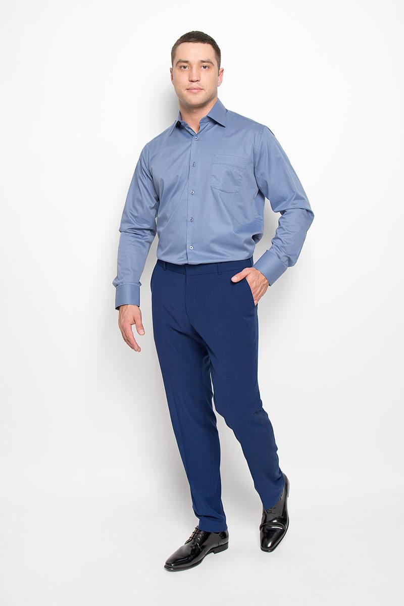 Рубашка мужская KarFlorens, цвет: синий. SW 82-03. Размер 43/44 (54-176)SW 82-03Стильная мужская рубашка KarFlorens, выполненная из хлопка с добавлением микрофибры, подчеркнет ваш уникальный стиль и поможет создать оригинальный образ. Такой материал великолепно пропускает воздух, обеспечивая необходимую вентиляцию, а также обладает высокой гигроскопичностью.Рубашка с длинными рукавами и отложным воротником застегивается на пуговицы спереди. Рукава рубашки дополнены манжетами, которые также застегиваются на пуговицы. Однотонная модель дополнена накладным нагрудным карманом. Классическая рубашка - превосходный вариант для базового мужского гардероба и отличное решение на каждый день.Такая рубашка будет дарить вам комфорт в течение всего дня и послужит замечательным дополнением к вашему гардеробу.