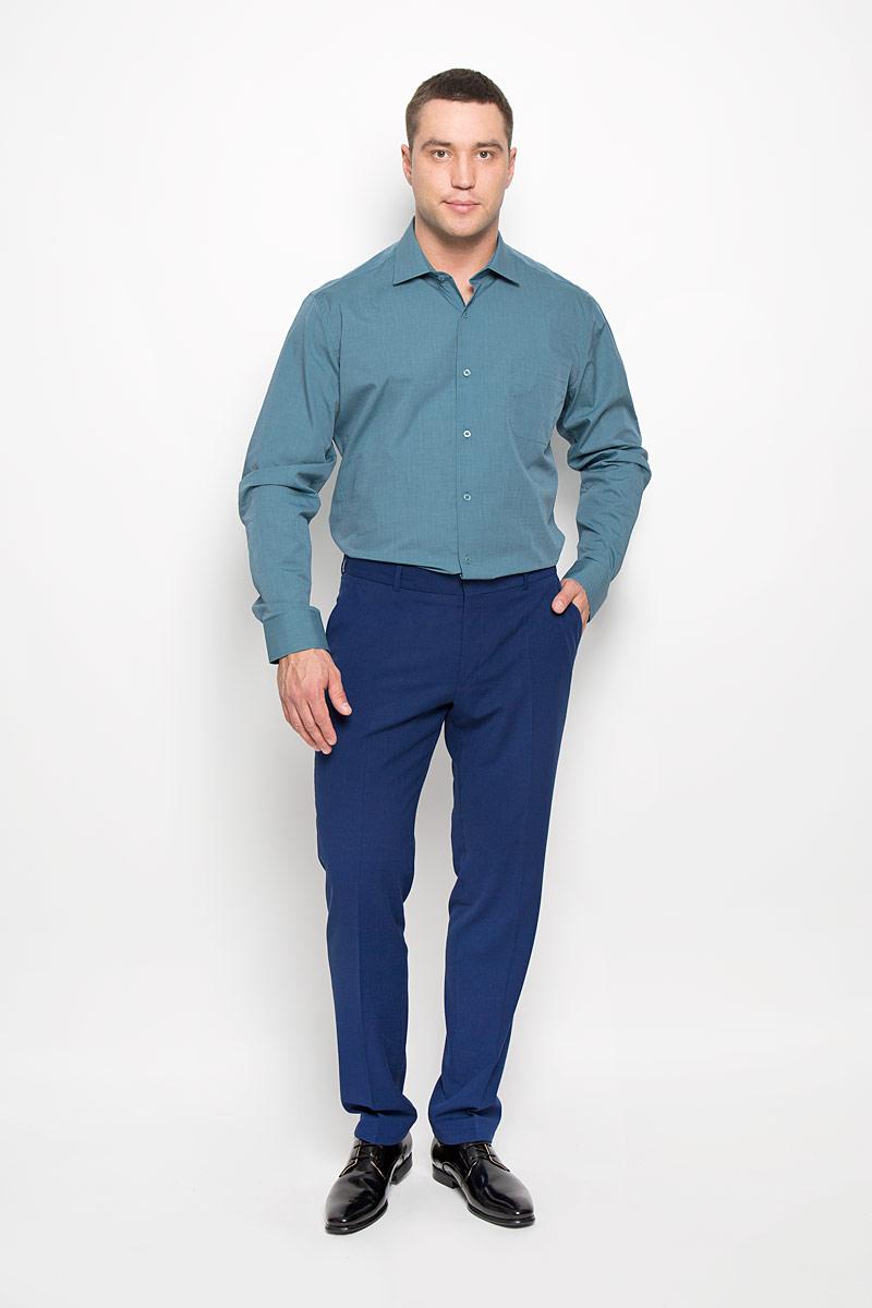 Рубашка мужская KarFlorens, цвет: темно-бирюзовый. SW 73-01. Размер 41/42 (50/52-182)SW 73-01Стильная мужская рубашка KarFlorens, выполненная из натурального хлопка, подчеркнет ваш уникальный стиль и поможет создать оригинальный образ. Такой материал великолепно пропускает воздух, обеспечивая необходимую вентиляцию, а также обладает высокой гигроскопичностью. Рубашка с длинными рукавами и отложным воротником застегивается на пуговицы спереди. Рукава рубашки дополнены манжетами, которые также застегиваются на пуговицы. Модель дополнена накладным нагрудным карманом. Классическая рубашка - превосходный вариант для базового мужского гардероба и отличное решение на каждый день.Такая рубашка будет дарить вам комфорт в течение всего дня и послужит замечательным дополнением к вашему гардеробу.