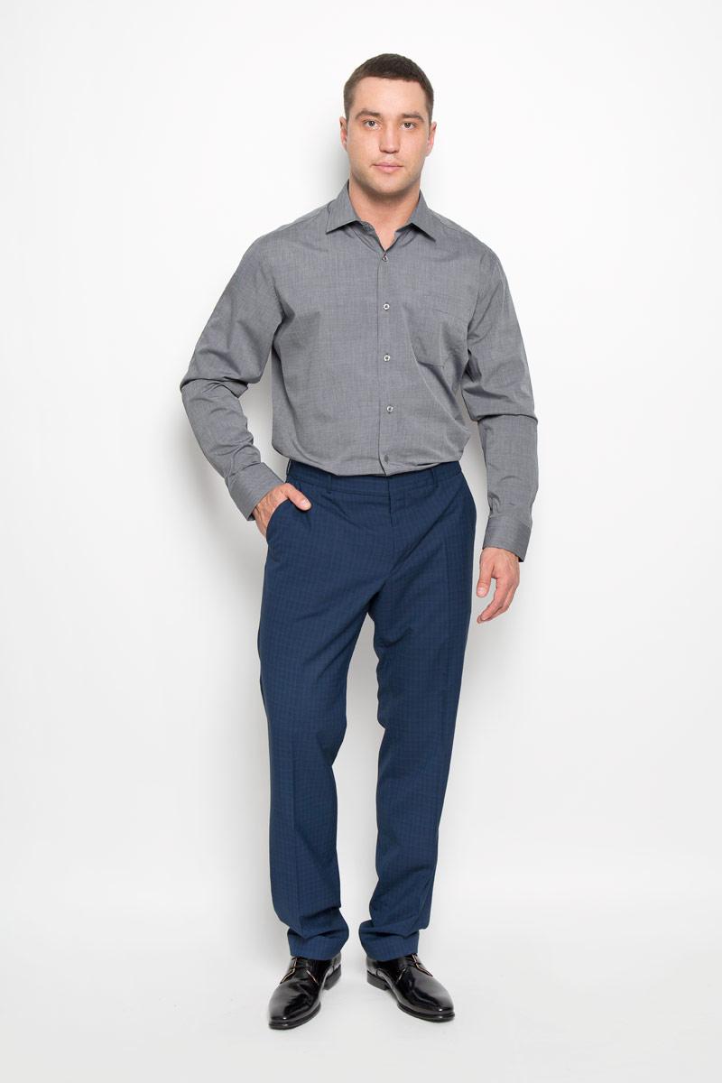 Рубашка мужская KarFlorens, цвет: серый. SW 73-02. Размер 43/44 (54-182)SW 73-02Стильная мужская рубашка KarFlorens, выполненная из натурального хлопка, подчеркнет ваш уникальный стиль и поможет создать оригинальный образ. Такой материал великолепно пропускает воздух, обеспечивая необходимую вентиляцию, а также обладает высокой гигроскопичностью. Рубашка с длинными рукавами и отложным воротником застегивается на пуговицы спереди. Рукава рубашки дополнены манжетами, которые также застегиваются на пуговицы. Модель дополнена накладным нагрудным карманом. Классическая рубашка - превосходный вариант для базового мужского гардероба и отличное решение на каждый день.Такая рубашка будет дарить вам комфорт в течение всего дня и послужит замечательным дополнением к вашему гардеробу.
