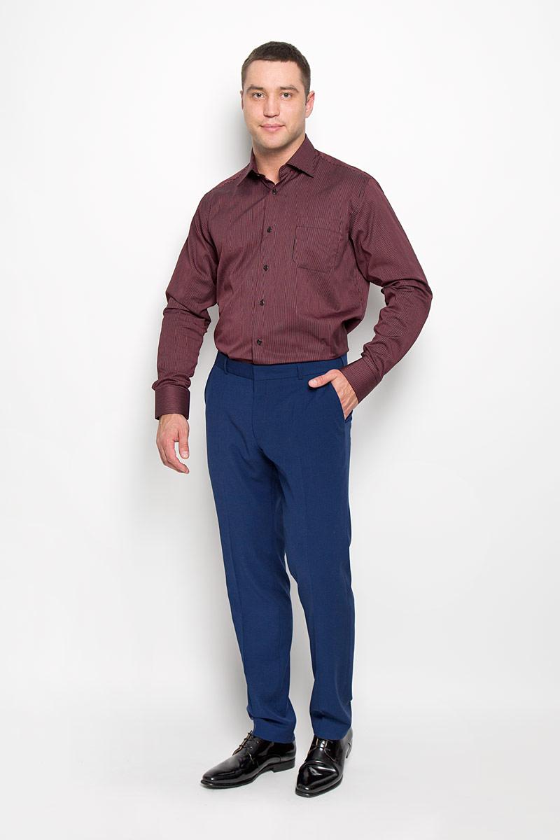 Рубашка мужская KarFlorens, цвет: черный, бордовый. SW 88-01. Размер 45/46 (56-176)SW 88-01Стильная мужская рубашка KarFlorens, выполненная из натурального хлопка, подчеркнет ваш уникальный стиль и поможет создать оригинальный образ. Хлопковый материал великолепно пропускает воздух, обеспечивая необходимую вентиляцию, а также обладает высокой гигроскопичностью.Рубашка с длинными рукавами и отложным воротником застегивается на пуговицы спереди. Рукава рубашки дополнены манжетами, которые также застегиваются на пуговицы. Модель оформлена узором в мелкую узкую полоску и дополнена нагрудным карманом. Классическая рубашка - превосходный вариант для базового мужского гардероба.Такая рубашка будет дарить вам комфорт в течение всего дня и послужит замечательным дополнением к вашему гардеробу.