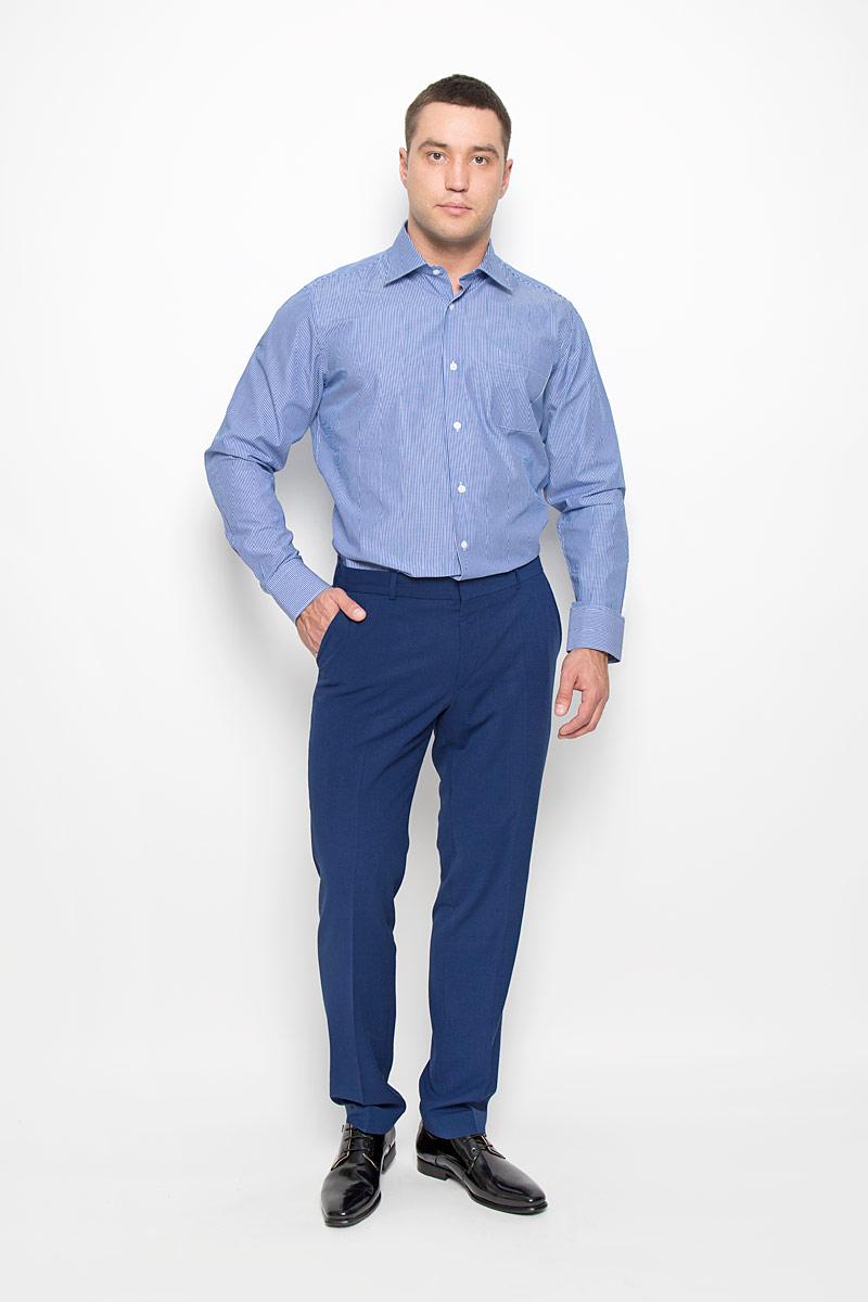 Рубашка мужская KarFlorens, цвет: синий, белый. SW 88-07. Размер 45/46 (56-182)SW 88-07Стильная мужская рубашка KarFlorens, выполненная из натурального хлопка, подчеркнет ваш уникальный стиль и поможет создать оригинальный образ. Хлопковый материал великолепно пропускает воздух, обеспечивая необходимую вентиляцию, а также обладает высокой гигроскопичностью.Рубашка с длинными рукавами и отложным воротником застегивается на пуговицы спереди. Рукава рубашки дополнены манжетами, которые также застегиваются на пуговицы. Модель оформлена узором в полоску и дополнена одним нагрудным карманом. Классическая рубашка - превосходный вариант для базового мужского гардероба.Такая рубашка будет дарить вам комфорт в течение всего дня и послужит замечательным дополнением к вашему гардеробу.