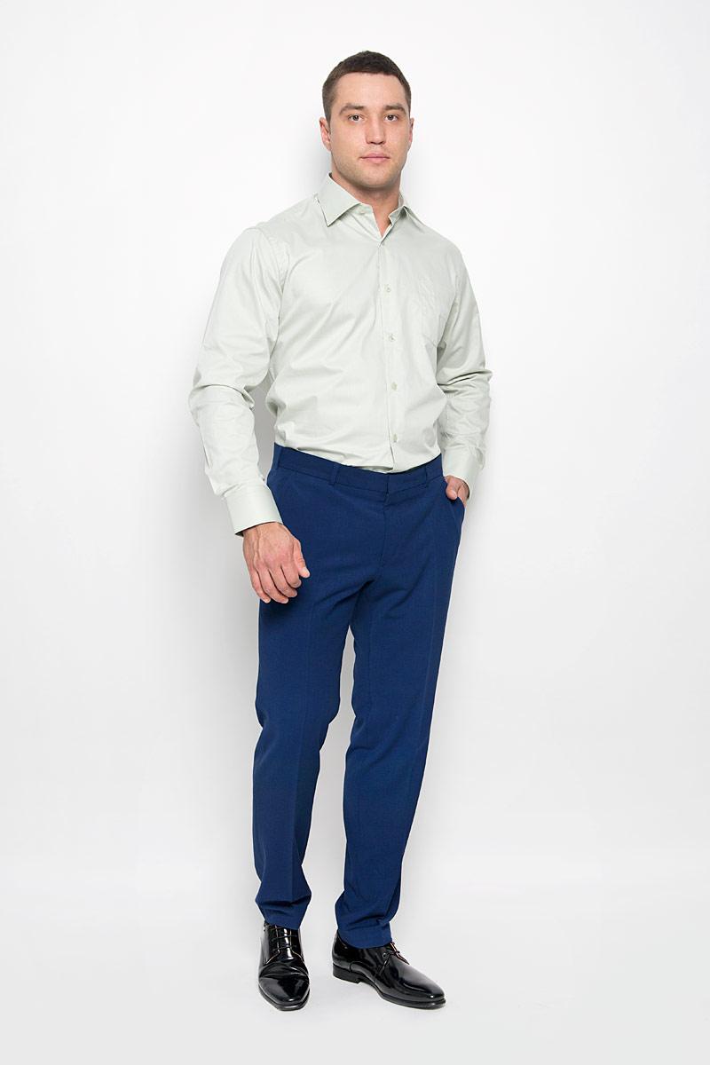 Рубашка мужская KarFlorens, цвет: светло-зеленый. SW 82-02. Размер 45/46 (56-182)SW 82-02Стильная мужская рубашка KarFlorens, выполненная из хлопка с добавлением микрофибры, подчеркнет ваш уникальный стиль и поможет создать оригинальный образ. Такой материал великолепно пропускает воздух, обеспечивая необходимую вентиляцию, а также обладает высокой гигроскопичностью.Рубашка с длинными рукавами и отложным воротником застегивается на пуговицы спереди. Рукава рубашки дополнены манжетами, которые также застегиваются на пуговицы. Однотонная модель дополнена накладным нагрудным карманом. Классическая рубашка - превосходный вариант для базового мужского гардероба и отличное решение на каждый день.Такая рубашка будет дарить вам комфорт в течение всего дня и послужит замечательным дополнением к вашему гардеробу.