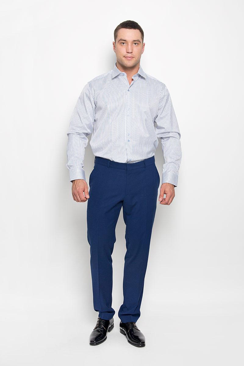 Рубашка мужская KarFlorens, цвет: синий, белый, серый. SW 59-01. Размер 45/46 (56-182)SW 59-01Стильная мужская рубашка KarFlorens, выполненная из хлопка с добавлением микрофибры, подчеркнет ваш уникальный стиль и поможет создать оригинальный образ. Такой материал великолепно пропускает воздух, обеспечивая необходимую вентиляцию, а также обладает высокой гигроскопичностью.Рубашка с длинными рукавами и отложным воротником застегивается на пуговицы спереди. Рукава рубашки дополнены манжетами, которые также застегиваются на пуговицы. Модель оформлена узором в полоску. Классическая рубашка - превосходный вариант для базового мужского гардероба.Такая рубашка будет дарить вам комфорт в течение всего дня и послужит замечательным дополнением к вашему гардеробу.