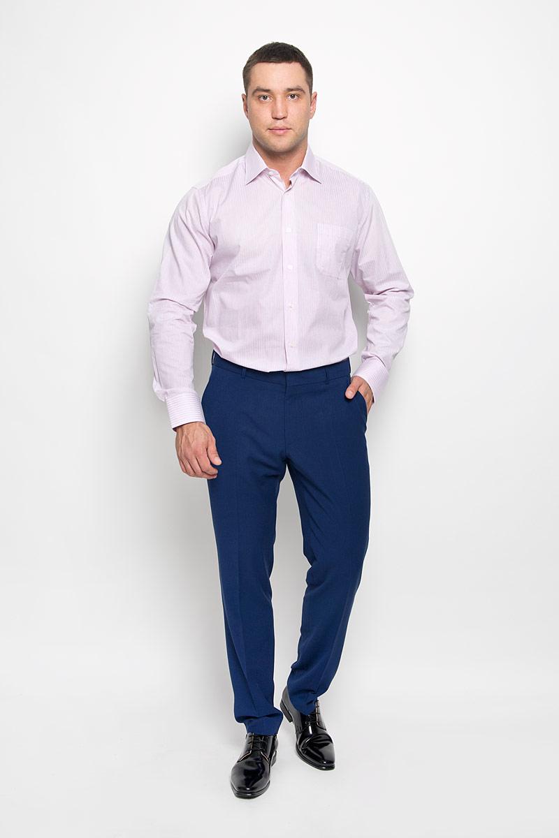 Рубашка мужская KarFlorens, цвет: светло-розовый, белый. SW 88-04. Размер 47/48 (58-182)SW 88-04Стильная мужская рубашка KarFlorens, выполненная из натурального хлопка, подчеркнет ваш уникальный стиль и поможет создать оригинальный образ. Такой материал великолепно пропускает воздух, обеспечивая необходимую вентиляцию, а также обладает высокой гигроскопичностью. Рубашка с длинными рукавами и отложным воротником застегивается на пуговицы спереди. Рукава рубашки дополнены манжетами, которые также застегиваются на пуговицы. Модель оформлена актуальным узором в узкую полоску и дополнена накладным нагрудным карманом. Классическая рубашка - превосходный вариант для базового мужского гардероба и отличное решение на каждый день.Такая рубашка будет дарить вам комфорт в течение всего дня и послужит замечательным дополнением к вашему гардеробу.
