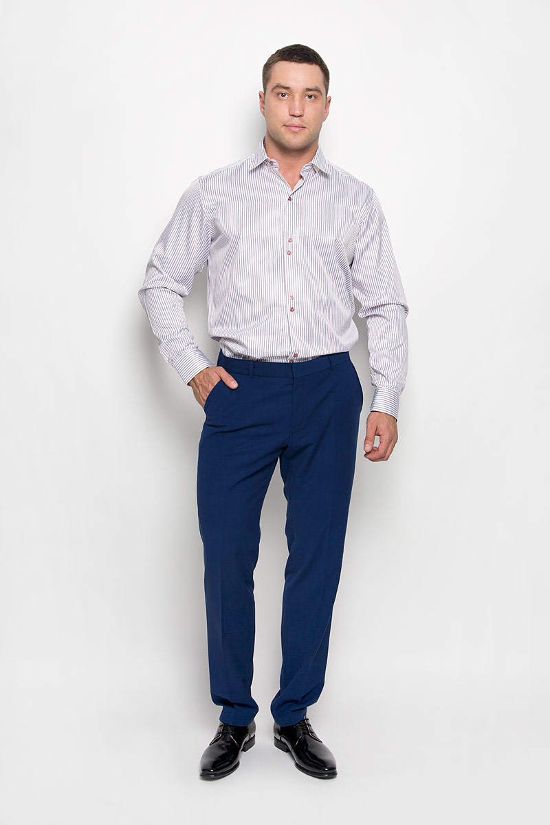 Рубашка мужская KarFlorens, цвет: красный, белый, серый. SW 59-02. Размер 41/42 (50/52-176)SW 59-02Стильная мужская рубашка KarFlorens, выполненная из хлопка с добавлением микрофибры, подчеркнет ваш уникальный стиль и поможет создать оригинальный образ. Такой материал великолепно пропускает воздух, обеспечивая необходимую вентиляцию, а также обладает высокой гигроскопичностью.Рубашка с длинными рукавами и отложным воротником застегивается на пуговицы спереди. Рукава рубашки дополнены манжетами, которые также застегиваются на пуговицы. Модель оформлена узором в полоску. Классическая рубашка - превосходный вариант для базового мужского гардероба.Такая рубашка будет дарить вам комфорт в течение всего дня и послужит замечательным дополнением к вашему гардеробу.