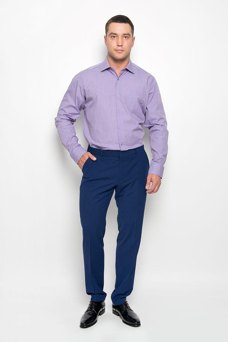 Рубашка мужская KarFlorens, цвет: сиреневый. SW 73-04. Размер 43/44 (54-182)SW 73-04Стильная мужская рубашка KarFlorens, выполненная из натурального хлопка, подчеркнет ваш уникальный стиль и поможет создать оригинальный образ. Такой материал великолепно пропускает воздух, обеспечивая необходимую вентиляцию, а также обладает высокой гигроскопичностью. Рубашка с длинными рукавами и отложным воротником застегивается на пуговицы спереди. Рукава рубашки дополнены манжетами, которые также застегиваются на пуговицы. Модель дополнена накладным нагрудным карманом. Классическая рубашка - превосходный вариант для базового мужского гардероба и отличное решение на каждый день.Такая рубашка будет дарить вам комфорт в течение всего дня и послужит замечательным дополнением к вашему гардеробу.