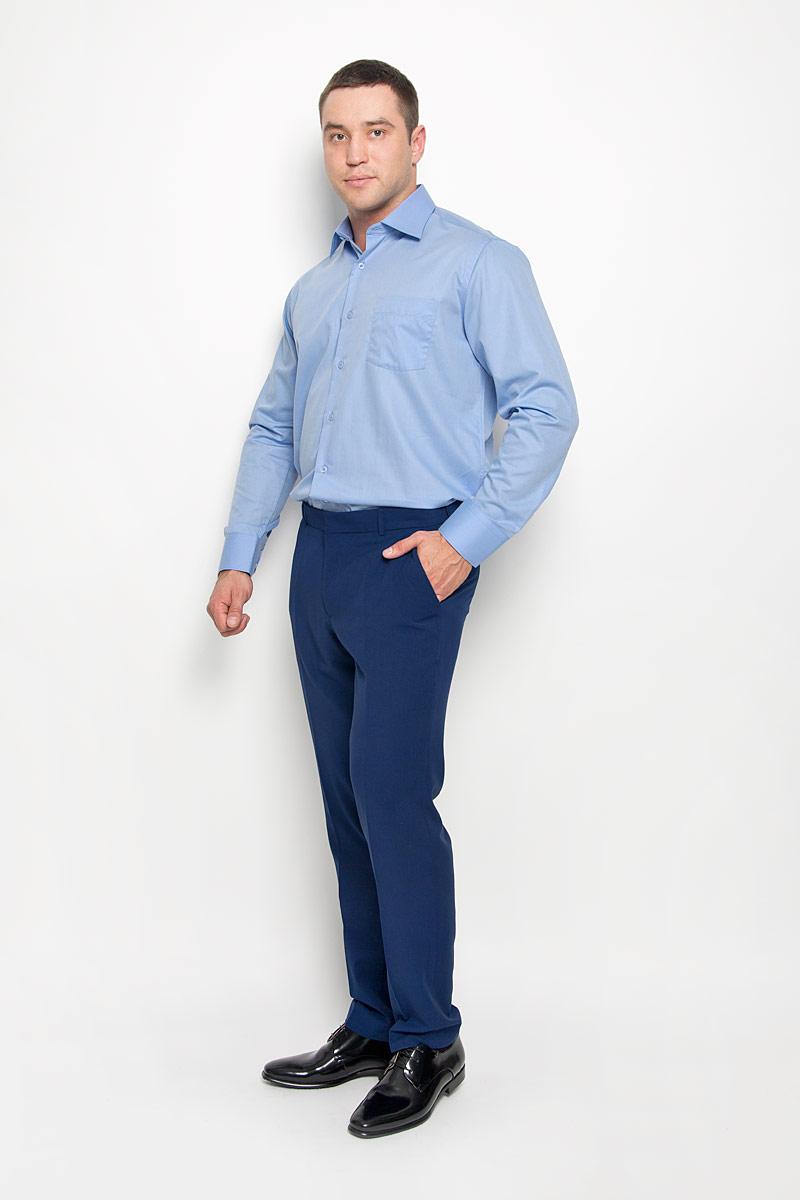 Рубашка мужская KarFlorens, цвет: светло-синий. SW 82-06. Размер 41/42 (50/52-176)SW 82-06Стильная мужская рубашка KarFlorens, выполненная из хлопка с добавлением микрофибры, подчеркнет ваш уникальный стиль и поможет создать оригинальный образ. Такой материал великолепно пропускает воздух, обеспечивая необходимую вентиляцию, а также обладает высокой гигроскопичностью.Рубашка с длинными рукавами и отложным воротником застегивается на пуговицы спереди. Рукава рубашки дополнены манжетами, которые также застегиваются на пуговицы. Однотонная модель дополнена накладным нагрудным карманом. Классическая рубашка - превосходный вариант для базового мужского гардероба и отличное решение на каждый день.Такая рубашка будет дарить вам комфорт в течение всего дня и послужит замечательным дополнением к вашему гардеробу.