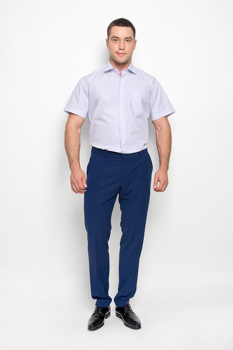 Рубашка мужская KarFlorens, цвет: сиреневый, белый. SW 75-02. Размер 47/48 (58-182)SW 75-02Стильная мужская рубашка KarFlorens, выполненная из натурального хлопка, подчеркнет ваш уникальный стиль и поможет создать оригинальный образ. Такой материал великолепно пропускает воздух, обеспечивая необходимую вентиляцию, а также обладает высокой гигроскопичностью. Рубашка с короткими рукавами и отложным воротником застегивается на пуговицы спереди. Модель оформлена актуальным узором в узкую полоску и дополнена накладным нагрудным карманом. Классическая рубашка - превосходный вариант для базового мужского гардероба и отличное решение на каждый день. Такая рубашка будет дарить вам комфорт в течение всего дня и послужит замечательным дополнением к вашему гардеробу.