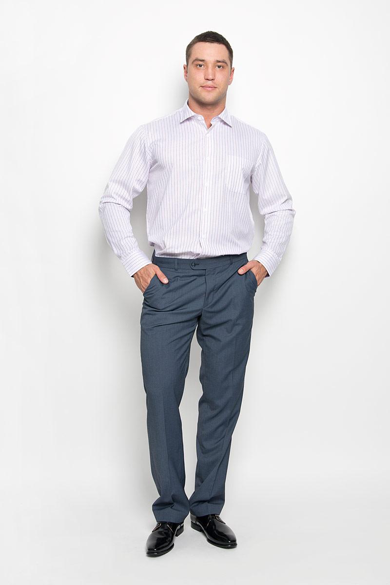 Рубашка мужская KarFlorens, цвет: розовый, белый. SW 71-04. Размер 43/44 (54-182)SW 71-04Стильная мужская рубашка KarFlorens, выполненная из хлопка с добавлением микрофибры, подчеркнет ваш уникальный стиль и поможет создать оригинальный образ. Такой материал великолепно пропускает воздух, обеспечивая необходимую вентиляцию, а также обладает высокой гигроскопичностью. Рубашка с длинными рукавами и отложным воротником застегивается на пуговицы спереди. Рукава рубашки дополнены манжетами, которые также застегиваются на пуговицы. Модель оформлена актуальным узором в узкую полоску и дополнена накладным нагрудным карманом. Классическая рубашка - превосходный вариант для базового мужского гардероба и отличное решение на каждый день.Такая рубашка будет дарить вам комфорт в течение всего дня и послужит замечательным дополнением к вашему гардеробу.