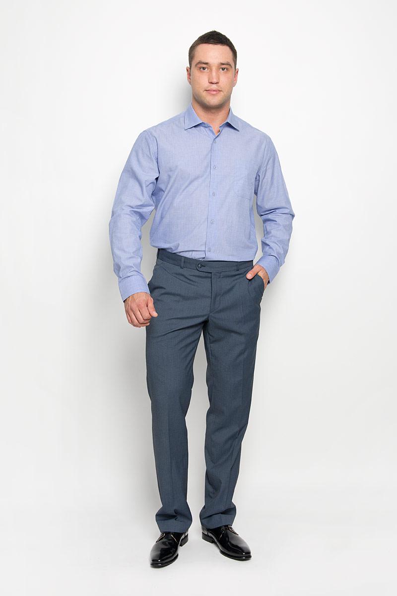 Рубашка мужская KarFlorens, цвет: сине-сиреневый. SW 73-05. Размер 41/42 (50/52-176)SW 73-05Стильная мужская рубашка KarFlorens, выполненная из натурального хлопка, подчеркнет ваш уникальный стиль и поможет создать оригинальный образ. Такой материал великолепно пропускает воздух, обеспечивая необходимую вентиляцию, а также обладает высокой гигроскопичностью. Рубашка с длинными рукавами и отложным воротником застегивается на пуговицы спереди. Рукава рубашки дополнены манжетами, которые также застегиваются на пуговицы. Модель дополнена накладным нагрудным карманом. Классическая рубашка - превосходный вариант для базового мужского гардероба и отличное решение на каждый день.Такая рубашка будет дарить вам комфорт в течение всего дня и послужит замечательным дополнением к вашему гардеробу.