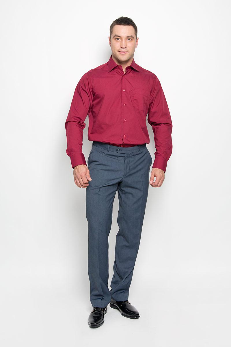 Рубашка мужская KarFlorens, цвет: темно-бордовый. SW 48-01. Размер 45/46 (56-176)SW 48-01Мужская рубашка KarFlorens, изготовленная из высококачественного хлопка с добавлением микрофибры, необычайно мягкая и приятная на ощупь, она не сковывает движения и позволяет коже дышать, обеспечивая комфорт.Модель с классическим отложным воротником, длинными рукавами и полукруглым низом, застегивается на пластиковые пуговицы. Манжеты со срезанными уголками и застежкой на пуговицы. Ширину манжет можно варьировать благодаря дополнительной пуговице. Пуговицы декорированы логотипом KarFlorens. На груди расположен накладной карман. Эта рубашка - идеальный вариант для повседневного гардероба. Такая модель порадует настоящих ценителей комфорта и практичности!