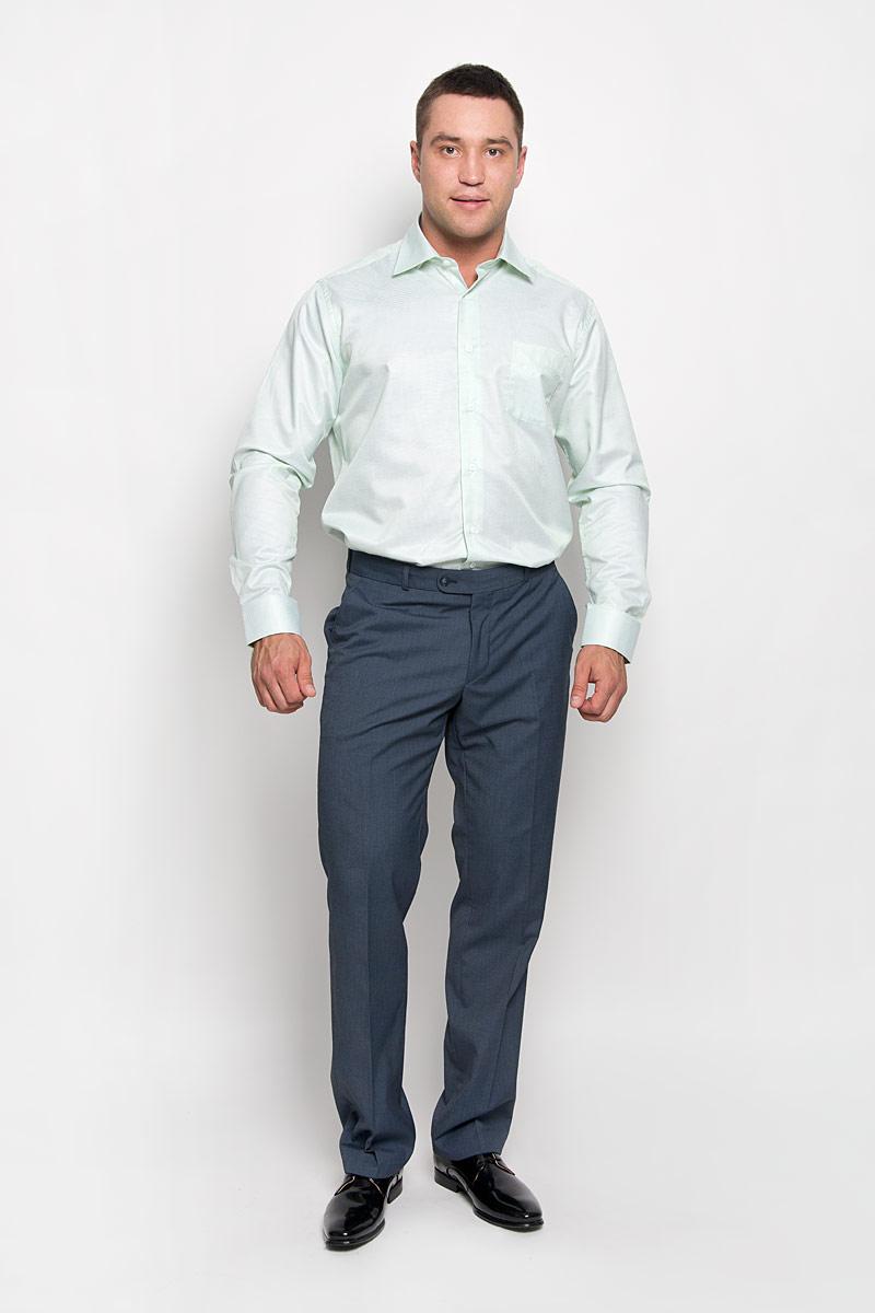 Рубашка мужская KarFlorens, цвет: светло-зеленый, белый. SW 74-02. Размер 45/46 (56-182)SW 74-02Стильная мужская рубашка KarFlorens, выполненная из хлопка с добавлением микрофибры, подчеркнет ваш уникальный стиль и поможет создать оригинальный образ.Рубашка с длинными рукавами и отложным воротником застегивается на пуговицы спереди. Рукава рубашки дополнены манжетами, которые также застегиваются на пуговицы. Модель оформлена узором в мелкую клетку и дополнена одним нагрудным карманом. Классическая рубашка - превосходный вариант для базового мужского гардероба.Такая рубашка будет дарить вам комфорт в течение всего дня и послужит замечательным дополнением к вашему гардеробу.