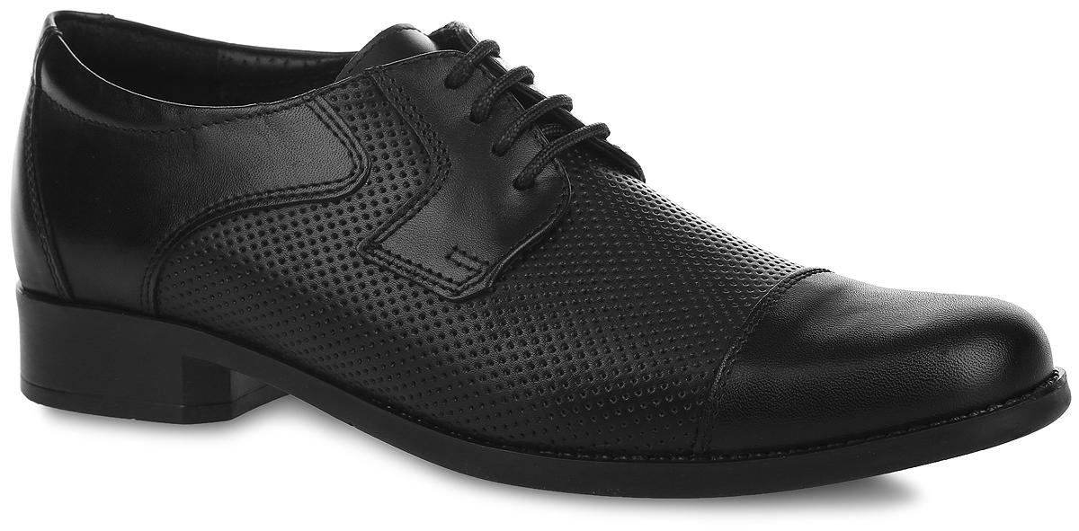 Туфли для мальчика Elegami, цвет: черный. 5-34751201. Размер 345-34751201Стильные туфли от Elegami придутся по душе вашему юному моднику! Модель выполнена из натуральной кожи и оформлена в передней части и по бокам перфорацией. Подкладка и стелька, изготовленные из натуральной кожи, предотвратят натирание и гарантируют уют. Стелька дополнена супинатором, который обеспечивает правильное положение ноги ребенка при ходьбе, предотвращает плоскостопие. Классическая шнуровка надежно зафиксирует изделие на ноге. Подошва оснащена рифлением для лучшего сцепления с различными поверхностями. Удобные классические туфли - незаменимая вещь в гардеробе каждого мальчика.