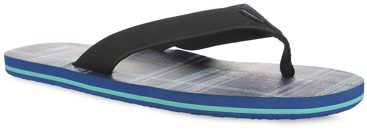 Сланцы мужские O`Neill Ftm Imprint Check & Stripe, цвет: черный, темно-синий. 604524-5910. Размер 39 (38)604524-5910Стильные сланцы от ONeill придутся вам по душе. Верх модели выполнен из ЭВА материала, текстиля и оформлен текстильной вставкой с названием бренда. Ремешки с перемычкой гарантируют надежную фиксацию изделия на ноге. Верхняя часть подошвы декорирована принтом в клетку и названием бренда. Рифление на верхней поверхности подошвы предотвращает выскальзывание ноги. Рельефное основание подошвы обеспечивает уверенное сцепление с любой поверхностью. Удобные сланцы прекрасно подойдут для похода в бассейн или на пляж.