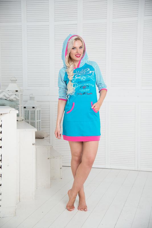 Платье домашнее Santi, цвет: белый, голубой, розовый. SS16-PL-06. Размер 48/50SS16-PL-06Домашнее платье Santi выполнено из натурального хлопка. Платье-мини с капюшоном и рукавами-реглан 3/4 оформлено принтом в полоску, спереди - оригинальным принтом. Спереди расположен накладной карман-кенгуру. Рукава, края карманов, капюшон и низ изделия дополнены трикотажными резинками.
