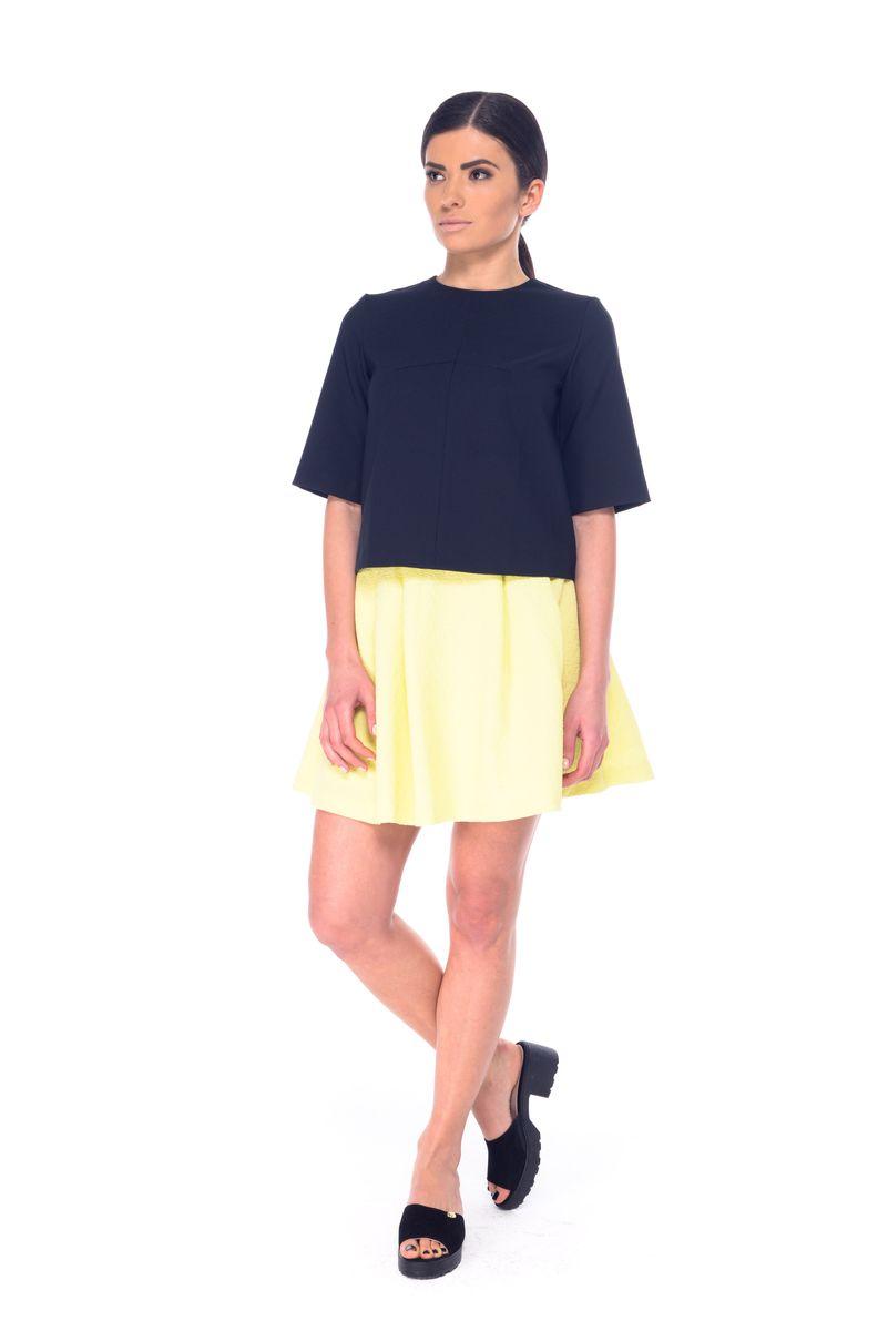 Юбка Arefeva, цвет: желтый. 03051. Размер S (44)03051Стильная женская юбка выполнена из полиэстера и эластана. Модель мини-длины застегивается сзади на металлическую застежку-молнию.