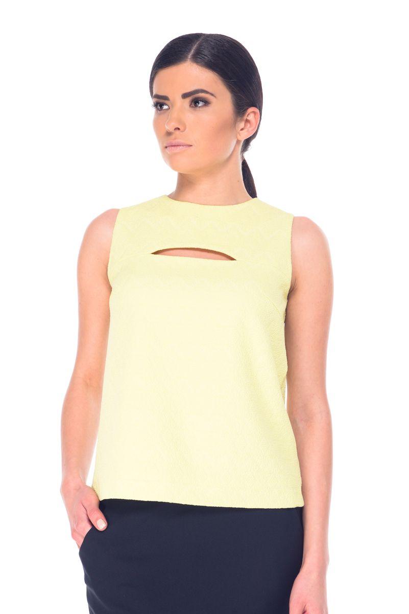 Блузка женская Arefeva, цвет: желтый. 07053. Размер L (48)07053Модная женская блузка Arefeva, изготовленная эластичного полиэстера, мягкая и приятная на ощупь, не сковывает движений и обеспечивает наибольший комфорт.Модель с круглым вырезом горловины и без рукавов застегивается на металлическую молнию, расположенные на спинке. Модель оформлена рельефным принтом, спереди - декоративным вырезом.