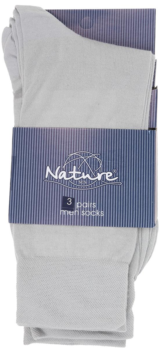 Носки мужские Nature, цвет: серый, 3 пары. 1107. Размер 27/291107Удобные мужские носки Nature, изготовленные из высококачественного комбинированного материала, идеально подойдут для повседневной носки. Благодаря содержанию мягкого хлопка в составе, кожа сможет дышать, полиамид обеспечивает износостойкость, а эластан позволяет носочкам легко тянуться, что делает их комфортными в носке. Эластичная резинка плотно облегает ногу, не сдавливая ее, обеспечивая комфорт и удобство. Практичные и комфортные носки с укрепленным мыском и пяткой великолепно подойдут к вашей повседневной обуви. В комплект входят 3 пары носков.
