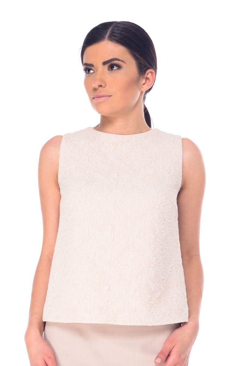 Блузка женская Arefeva, цвет: бежево-розовый. L 7050. Размер XL (50)L 7050Женская блузка Arefeva выполнена из высококачественного комбинированного материала и дополнена подкладкой из полиэстера. Перед изделия выполнен из жатого материала и декорирован металлизированной нитью. Модель с круглым вырезом горловины застегивается на небольшую навесную пуговичку расположенную на спинке.