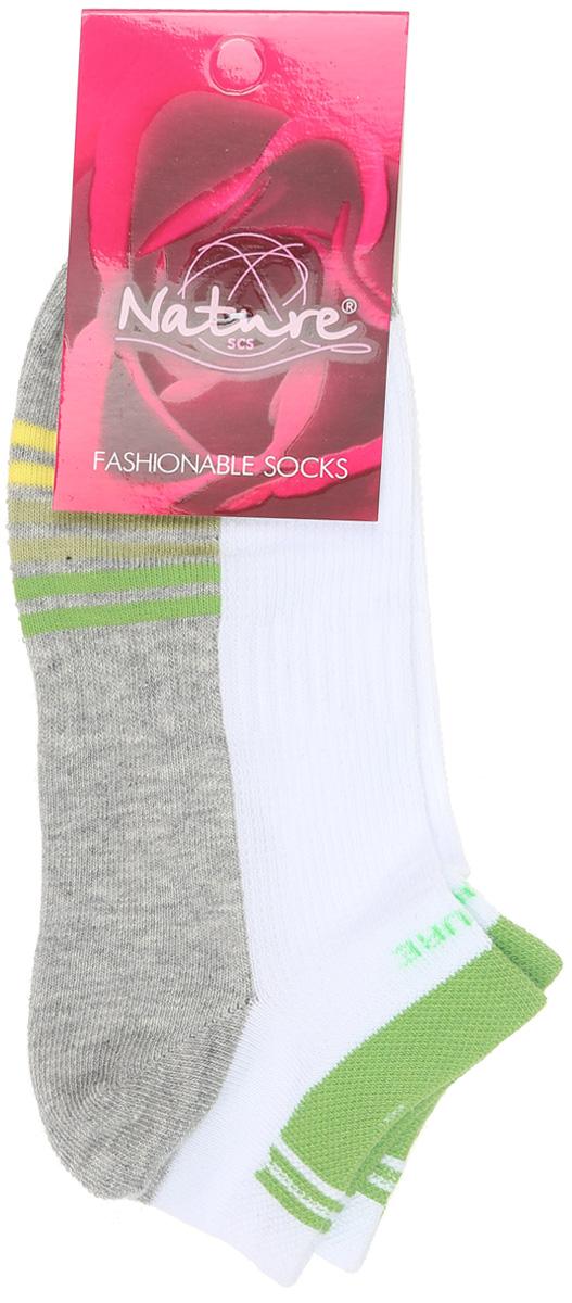 Носки женские Nature, цвет: белый, серый, салатовый. 811ж. Размер 23/25811жУдобные укороченные женские носки Nature, изготовленные из высококачественного комбинированного материала, идеально подойдут для повседневной носки. Благодаря содержанию мягкого хлопка в составе, кожа сможет дышать, полиамид обеспечивает износостойкость, а эластан позволяет носочкам легко тянуться, что делает их комфортными в носке. Эластичная резинка плотно облегает ногу, не сдавливая ее, обеспечивая комфорт и удобство. Практичные и комфортные носки с укрепленным мыском и пяткой великолепно подойдут к вашей повседневной обуви.