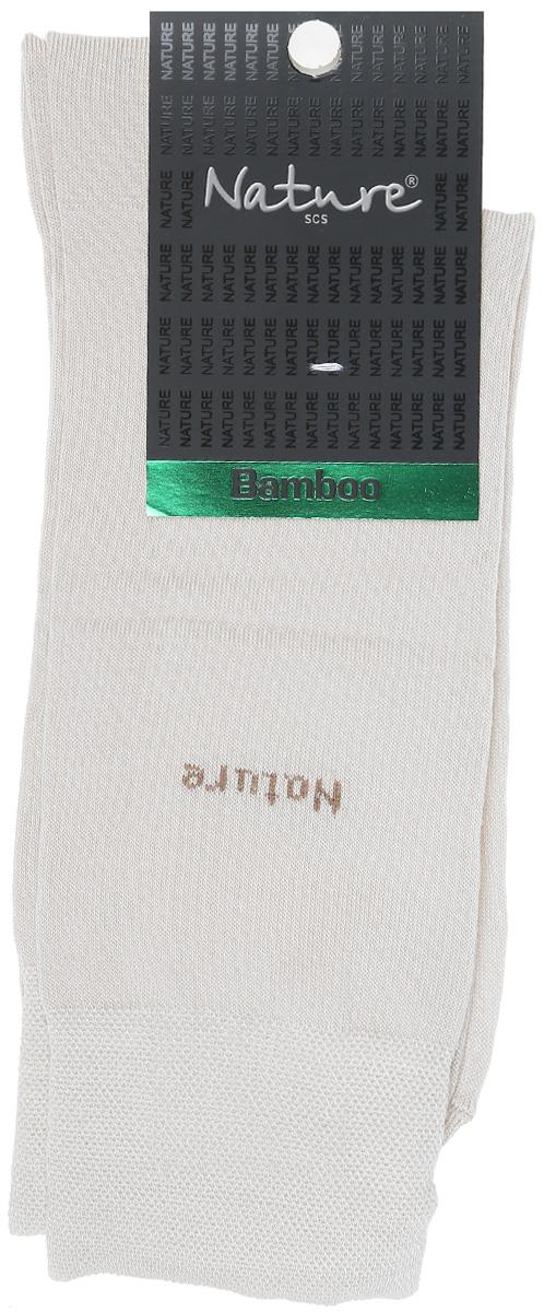 Носки мужские Nature, цвет: бежевый. 413. Размер 25/27413Удобные мужские носки Nature, изготовленные из высококачественного комбинированного материала, идеально подойдут для повседневной носки. Благодаря содержанию мягких бамбуковых волокон в составе, кожа сможет дышать, полиамид обеспечивает износостойкость, а эластан позволяет носочкам легко тянуться, что делает их комфортными в носке. Эластичная резинка плотно облегает ногу, не сдавливая ее, обеспечивая комфорт и удобство. Практичные и комфортные носки с укрепленным мыском и пяткой великолепно подойдут к вашей повседневной обуви.